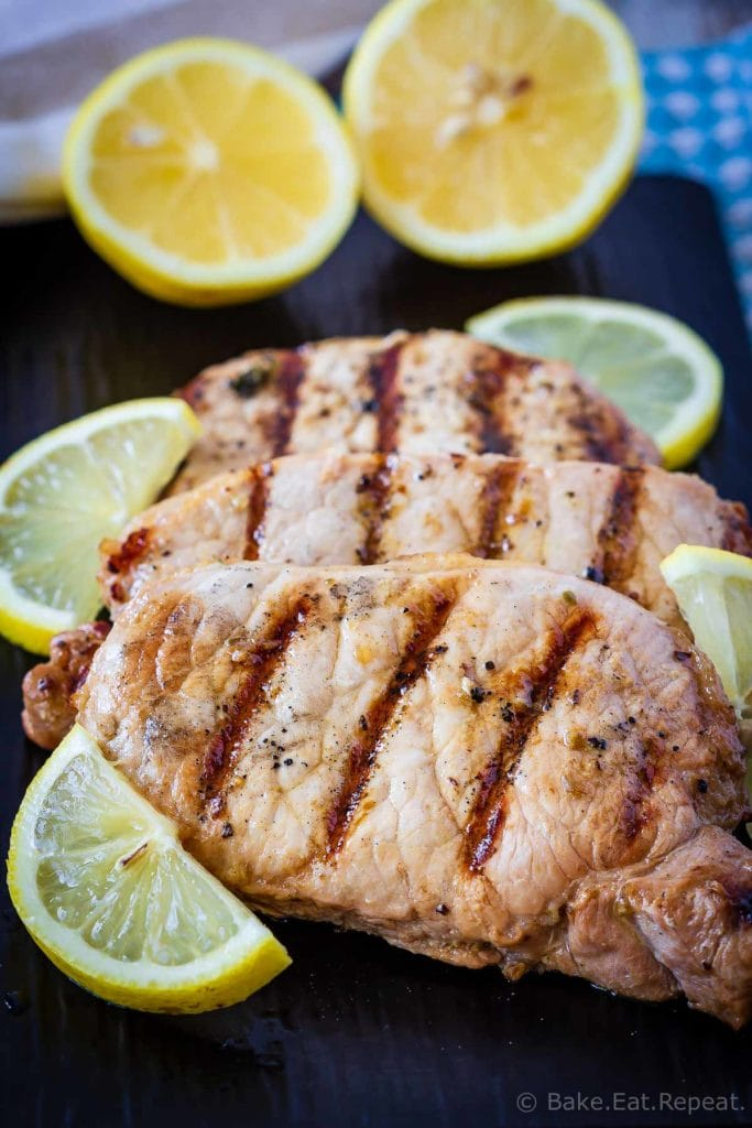 This lemon garlic pork chop marinade is easy to mix up and adds so much flavour to pork chops. Marinate and then grill, pan fry, or bake, or freeze for later!