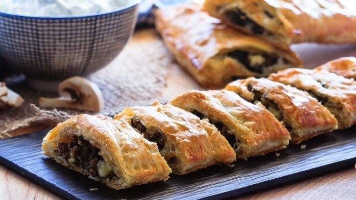 Beef, Spinach and Mushroom Strudel - Bake.Eat.Repeat.