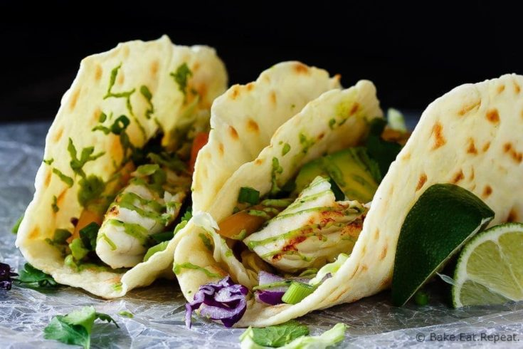 Fish Tacos with Avocado Cream