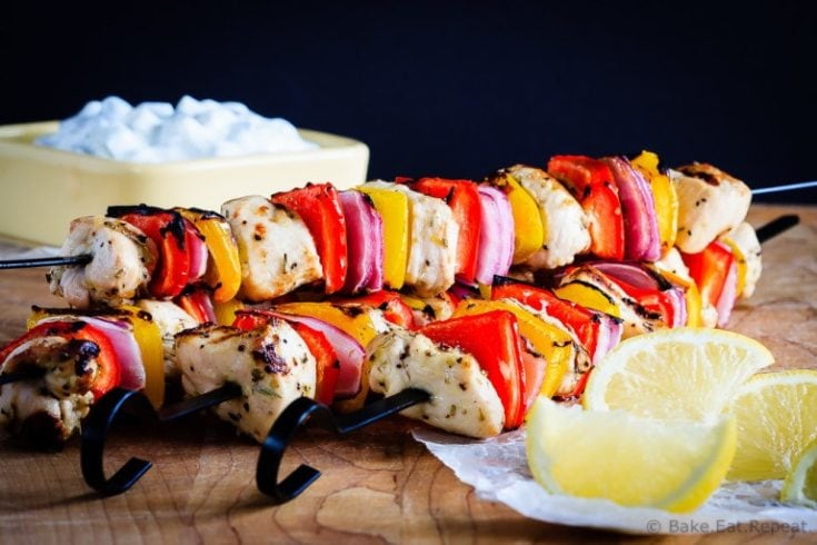 Greek Chicken Kabobs with Tzatziki Sauce