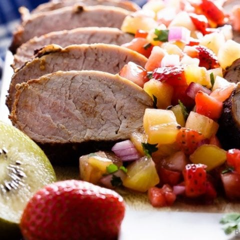 Grilled Pork Tenderloin with Strawberry Kiwi Salsa