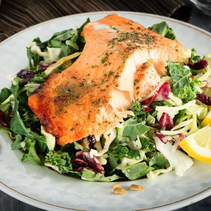 Honey Lemon Baked Salmon with Sunflower Kale Salad