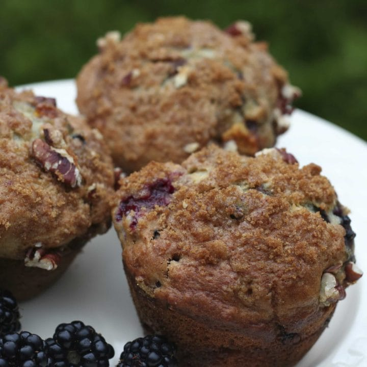 Blackberry Peach Coffeecake Muffins