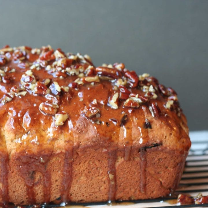 Whole Wheat Pumpkin Bread with a Maple Pecan Glaze