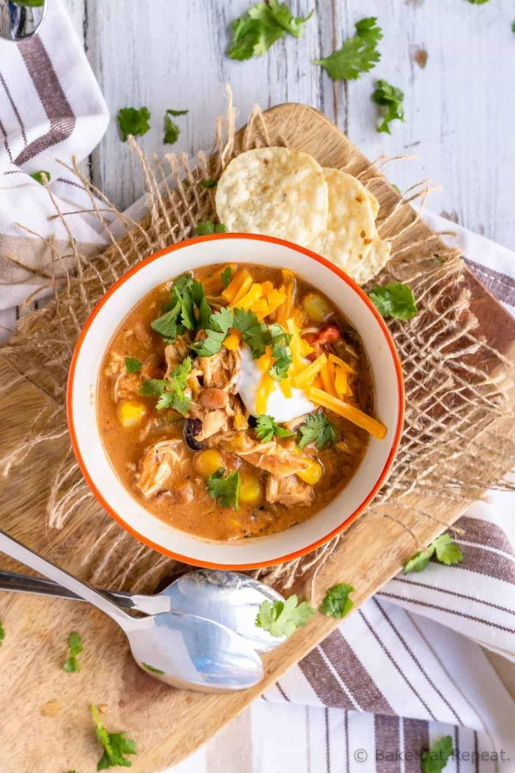 This Instant Pot chicken chili is one of the easiest meals to make and is the perfect warming meal for a cold night.You can also make it in the slow cooker!
