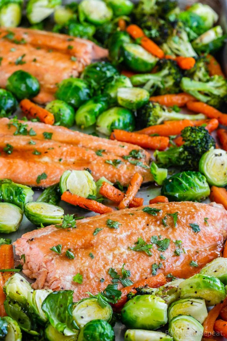 This sheet pan maple glazed salmon and vegetables is an easy, one pan meal that the whole family will love. And the maple glaze has just 3 ingredients!