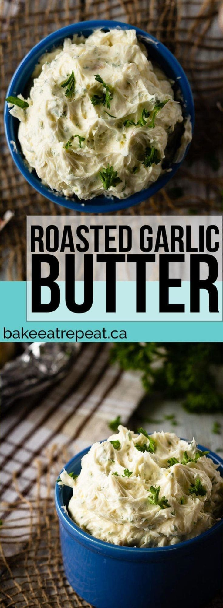 This roasted garlic butter is so easy to make and is fantastic served with fresh bread or dinner rolls, or used to make garlic toast!