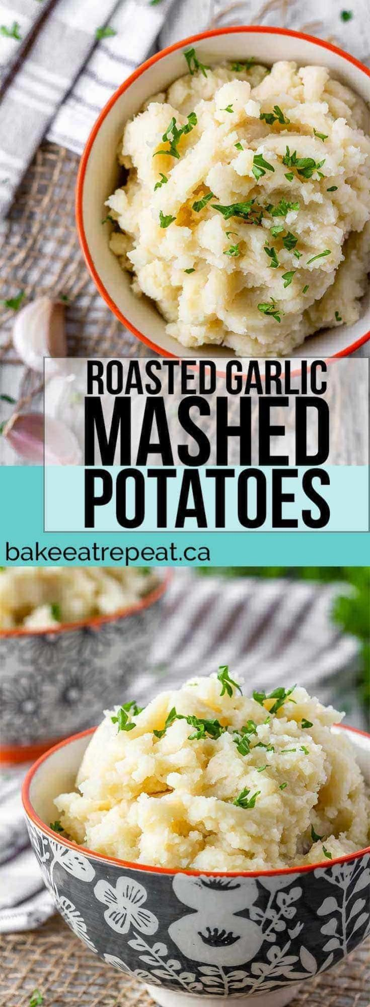 Roasted garlic mashed potatoes are so easy to make, and can even be made ahead of time. Cook time includes roasting time for the garlic, time for the potatoes varies depending on the cooking method.