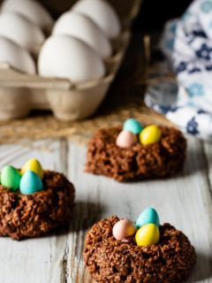 Birds nest chocolate macaroon cookies