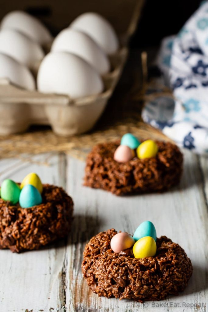 Birds nest chocolate macaroon cookies