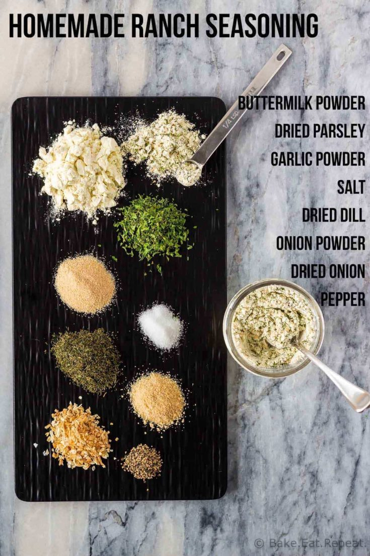 This homemade ranch seasoning uses just 8 ingredients and mixes up in minutes. Store it in the fridge or freezer for fast, tasty ranch dressing or dip!