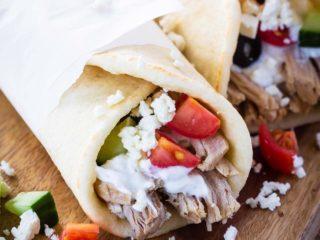 Greek pork wraps