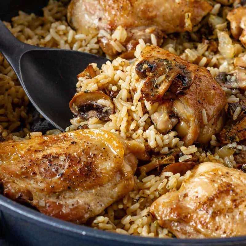 Mushroom chicken and rice