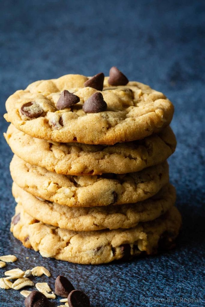 Chewy oatmeal chocolate chip peanut butter cookies