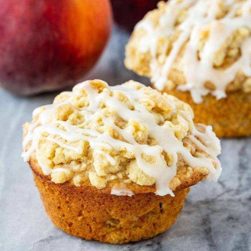 Peach coffeecake muffins