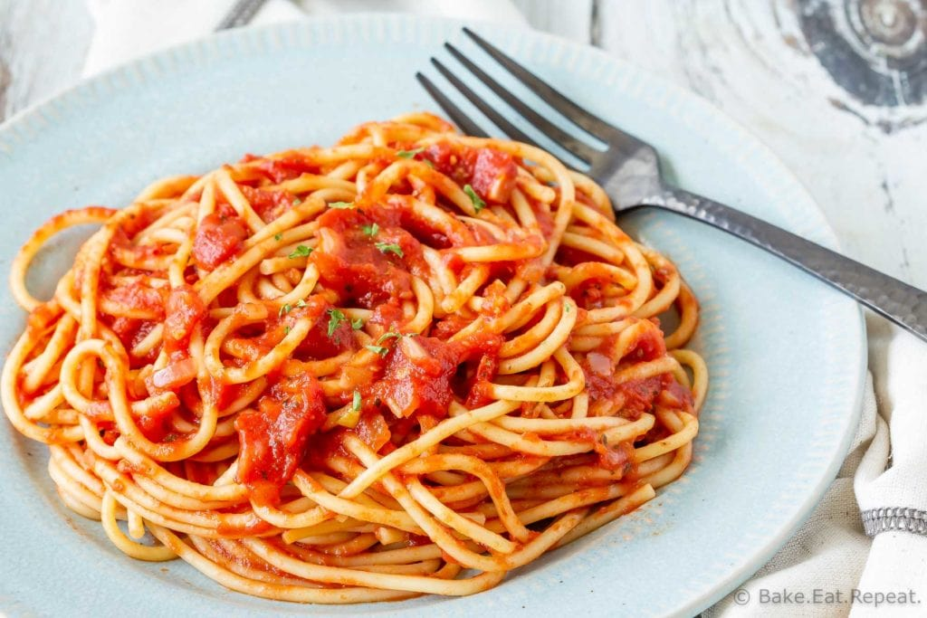 Homemade marinara sauce on spaghetti noodles