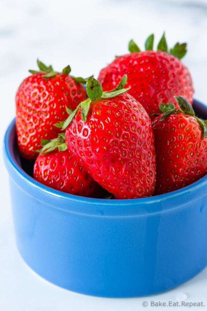 One serving of strawberries in a bowl