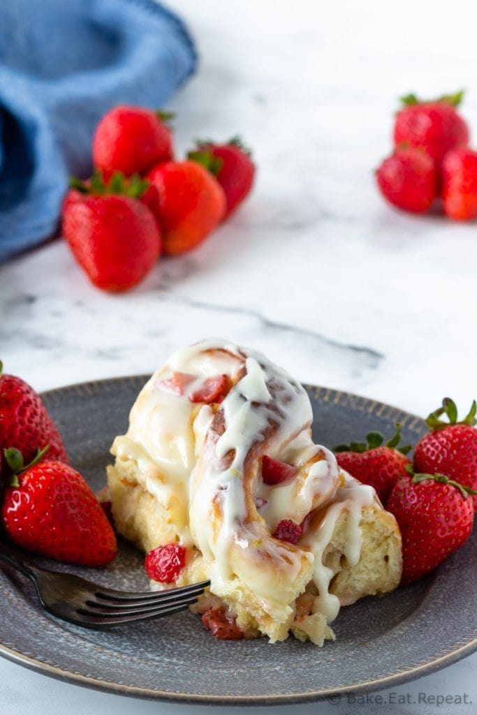 Easy sweet roll dough filled with lemon and strawberries.