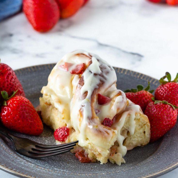 Strawberry lemon sweet rolls with a tangy lemon cream cheese glaze