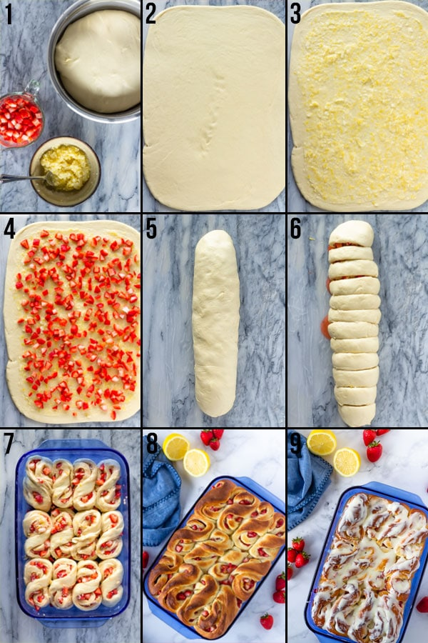 Step by step photos showing how to make strawberry lemon sweet rolls.