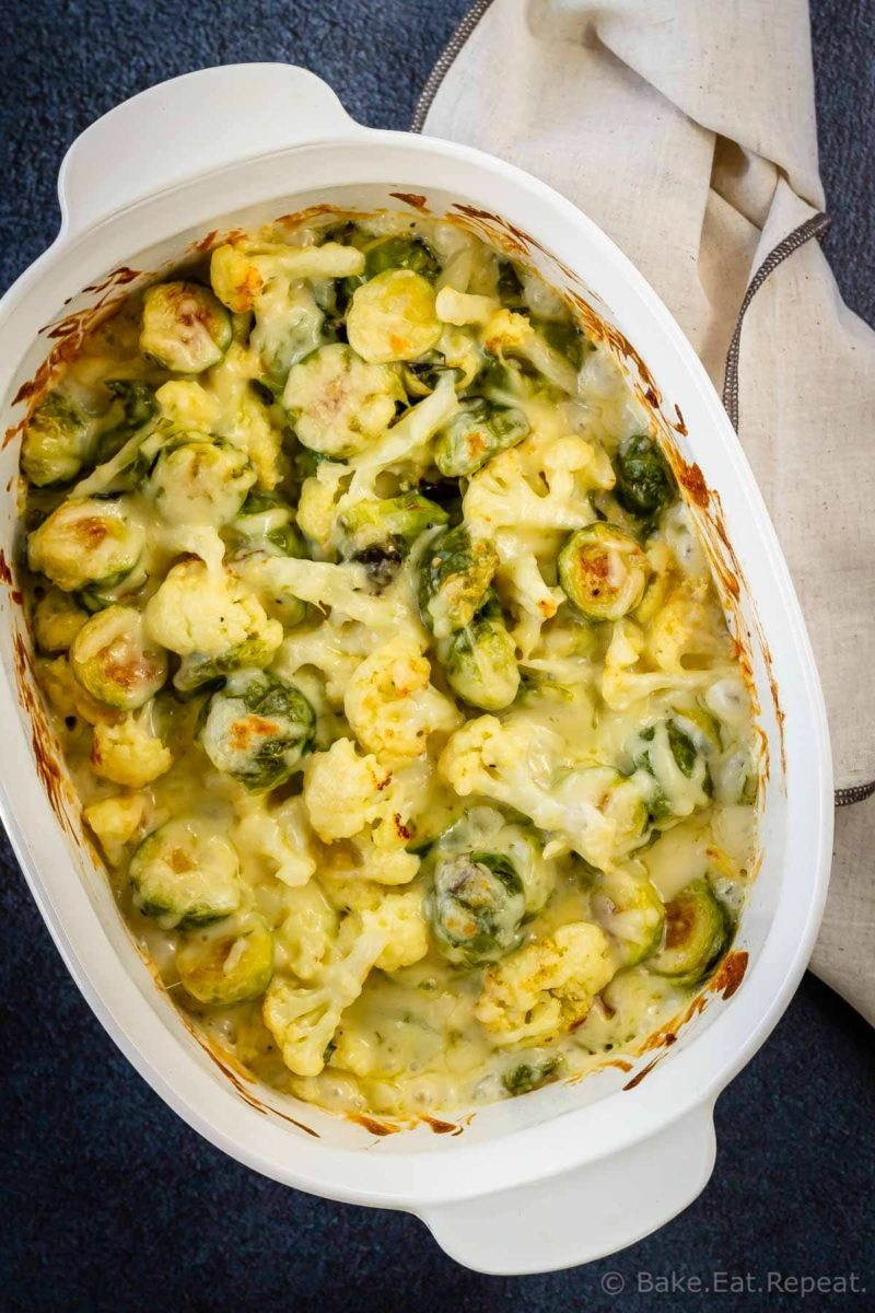 Roasted brussel sprouts and cauliflower gratin