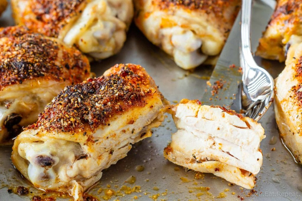 Easy to make, 10 minute prep, crispy baked chicken thighs