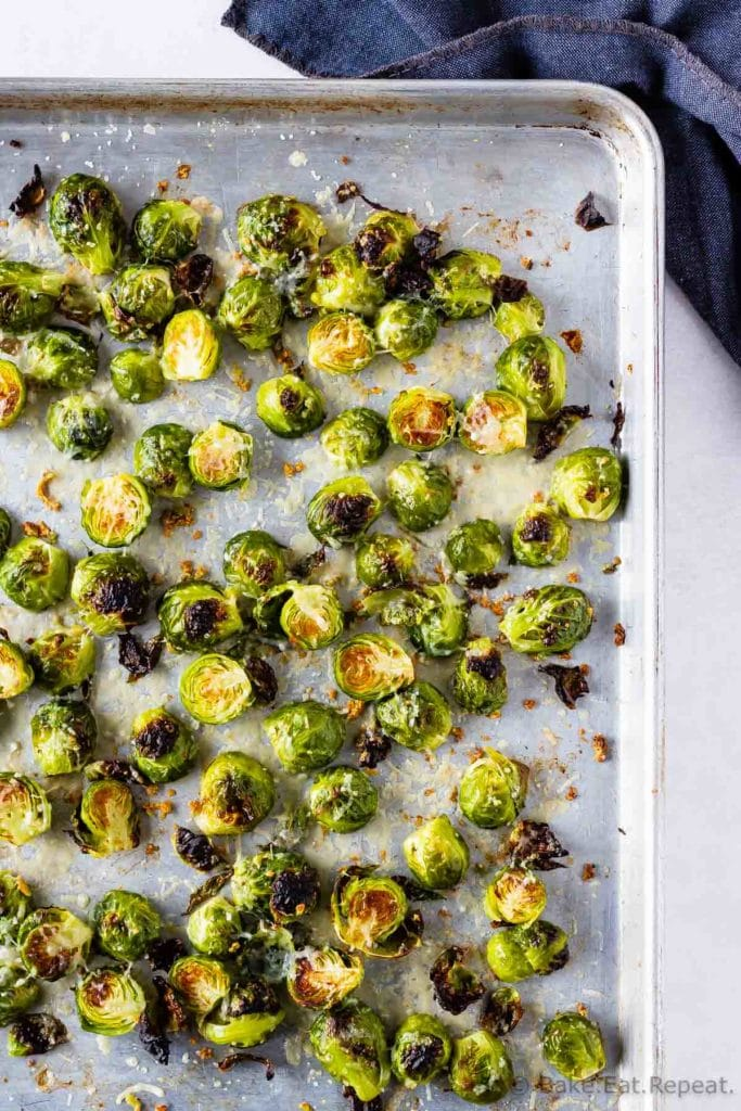 Roasted brussel sprouts with garlic and parmesan
