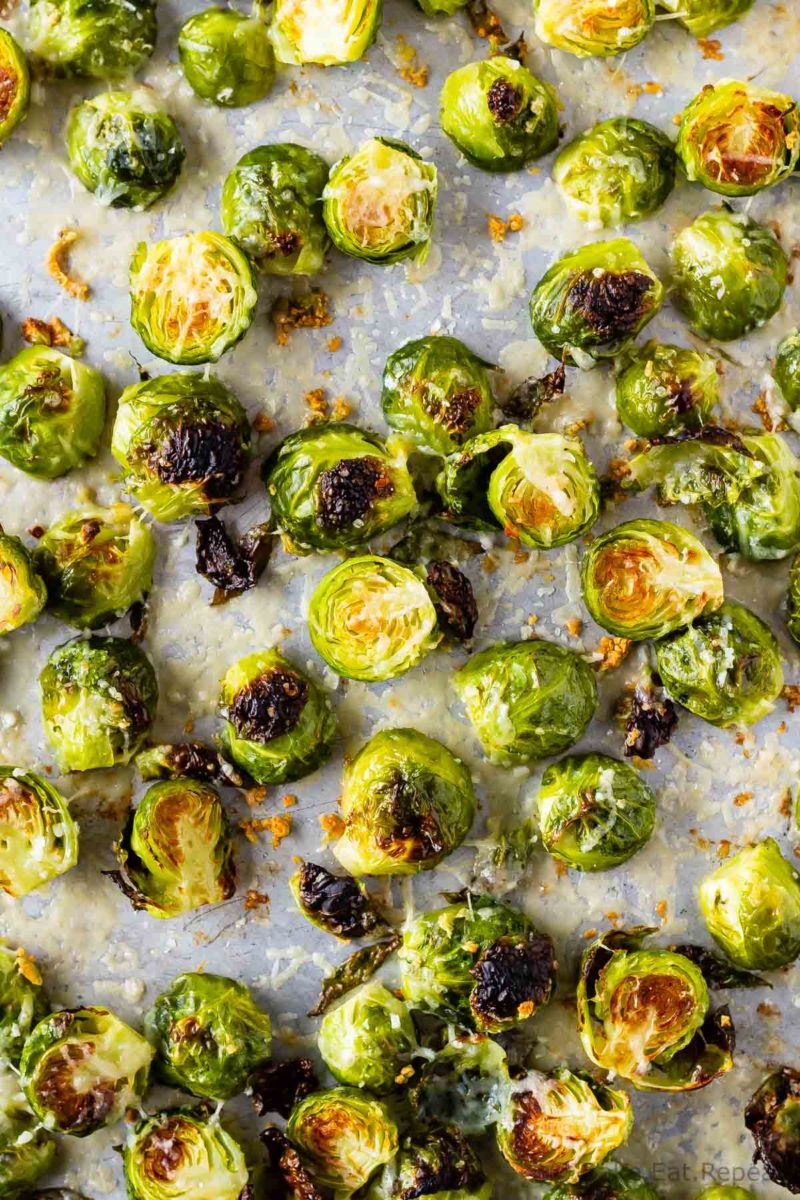 Easy to make roasted brussel sprouts with parmesan and garlic