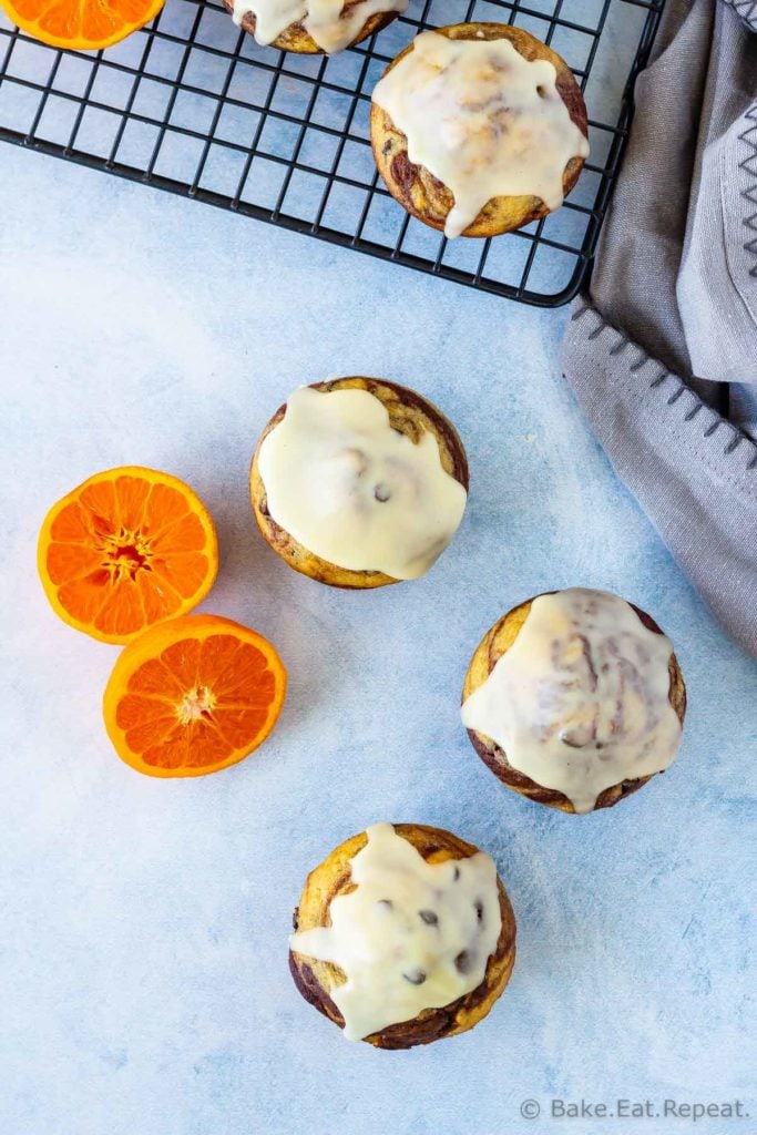 Easy to make, marbled chocolate orange muffins with a sweet orange glaze