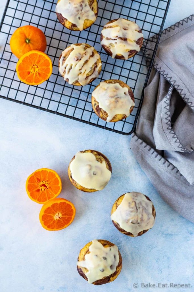 Easy to make, marbled chocolate orange muffins with a sweet orange glaze
