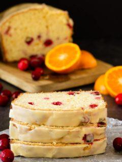 Orange cranberry bread with a sweet orange glaze