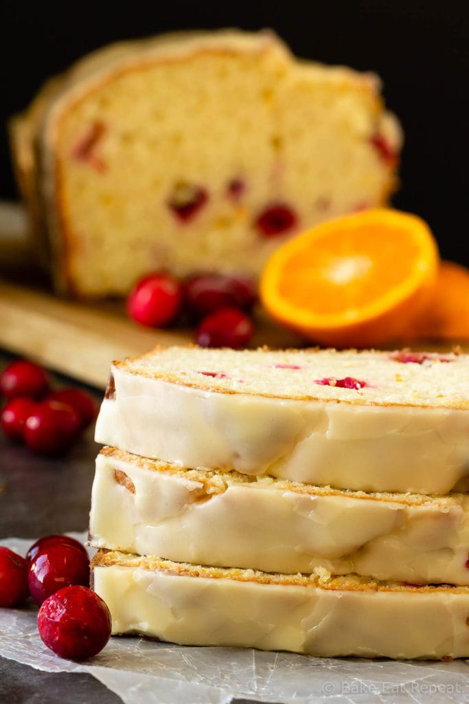 Orange cranberry bread with a sweet orange glaze