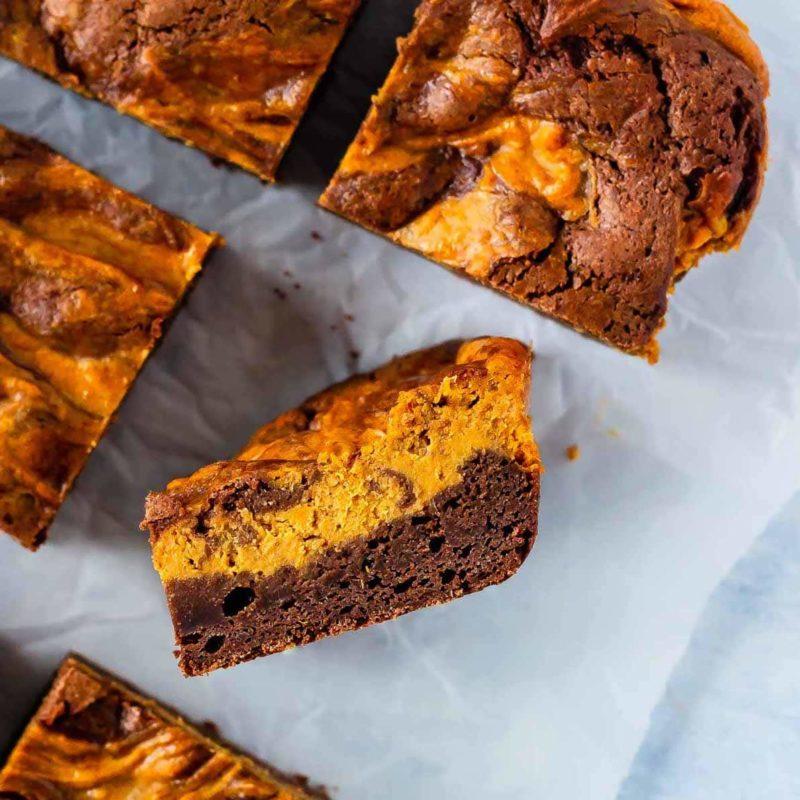 Easy to make pumpkin cheesecake brownies