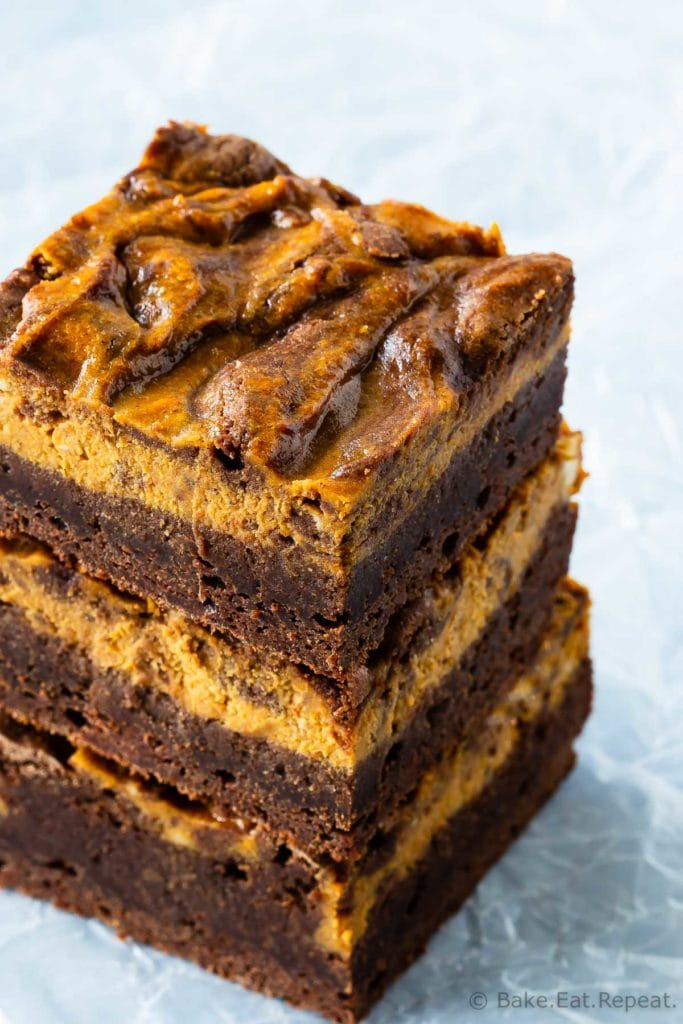Easy chewy brownies swirled with creamy pumpkin cheesecake