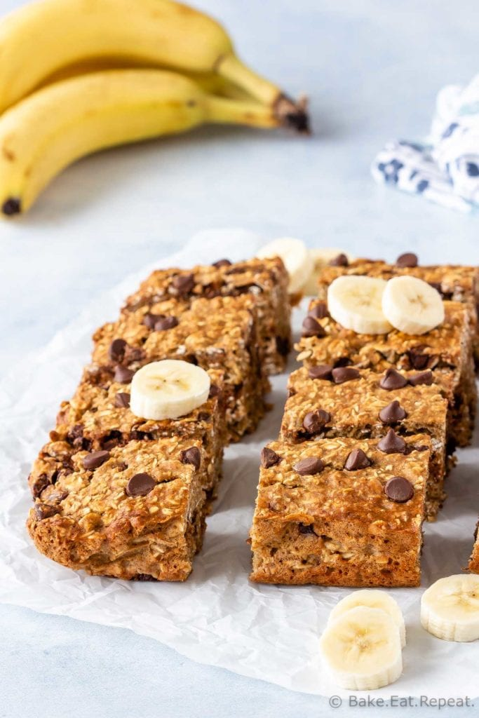 Oatmeal bars with bananas and chocolate chips.