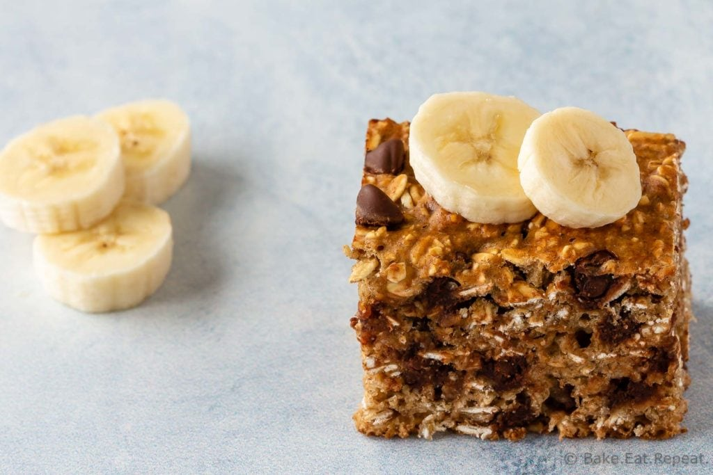 Chocolate chip banana oatmeal bars for an easy snack or breakfast.