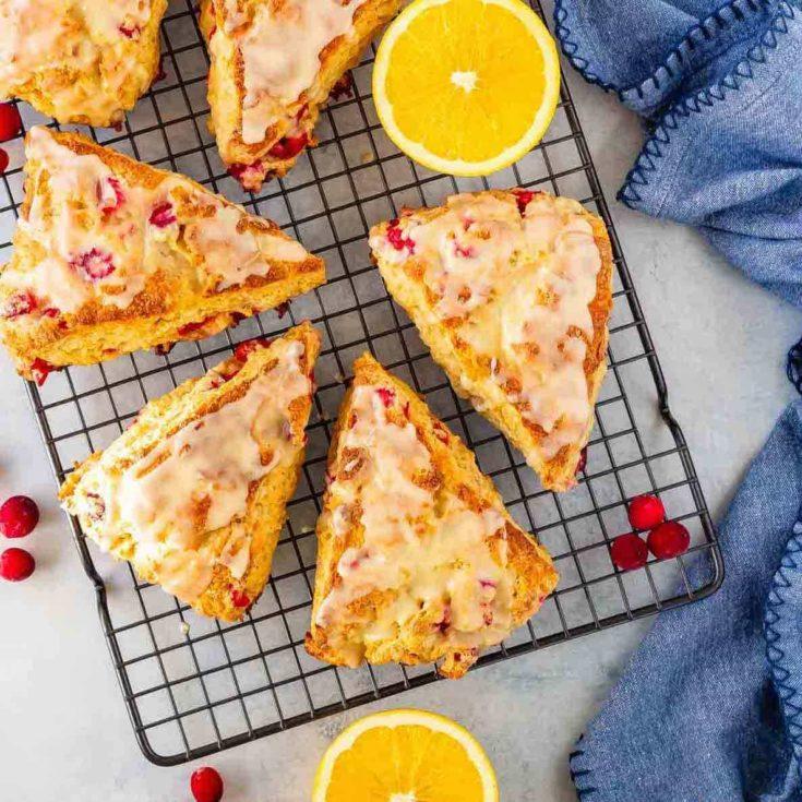Cranberry orange scones with an orange glaze