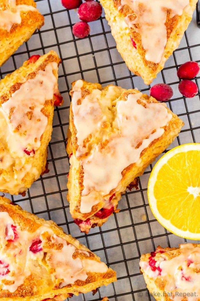 Easy to make cranberry orange scones drizzled with a sweet orange glaze