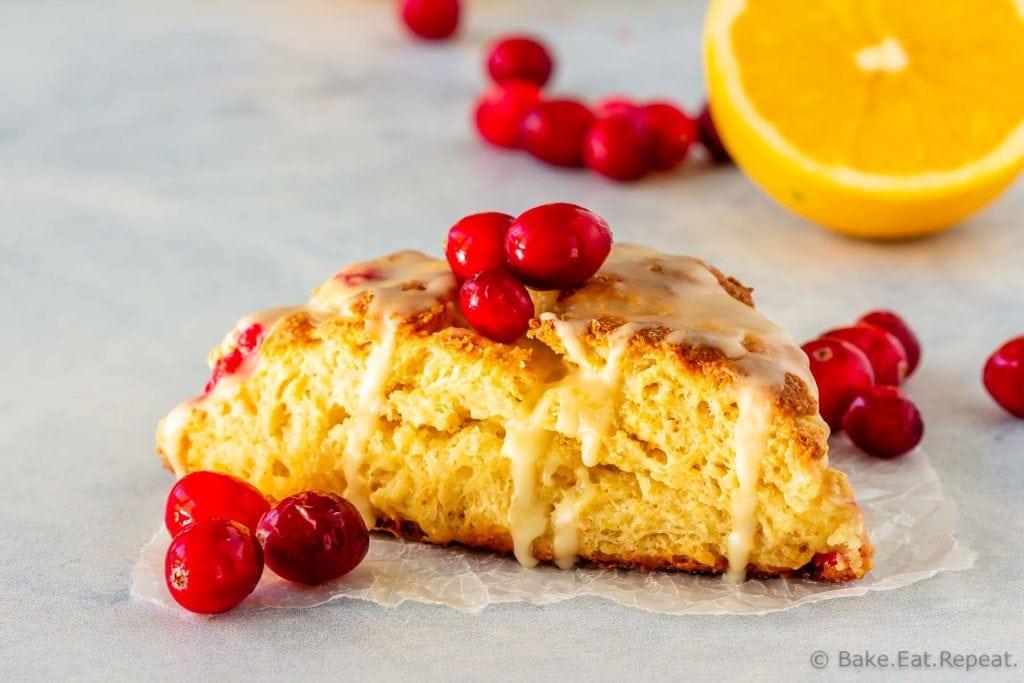 Orange cranberry scones with an orange glaze