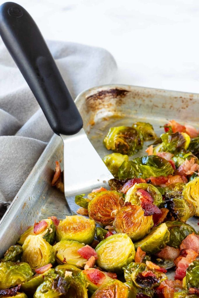 Roasted Brussel sprouts with bacon and a maple glaze