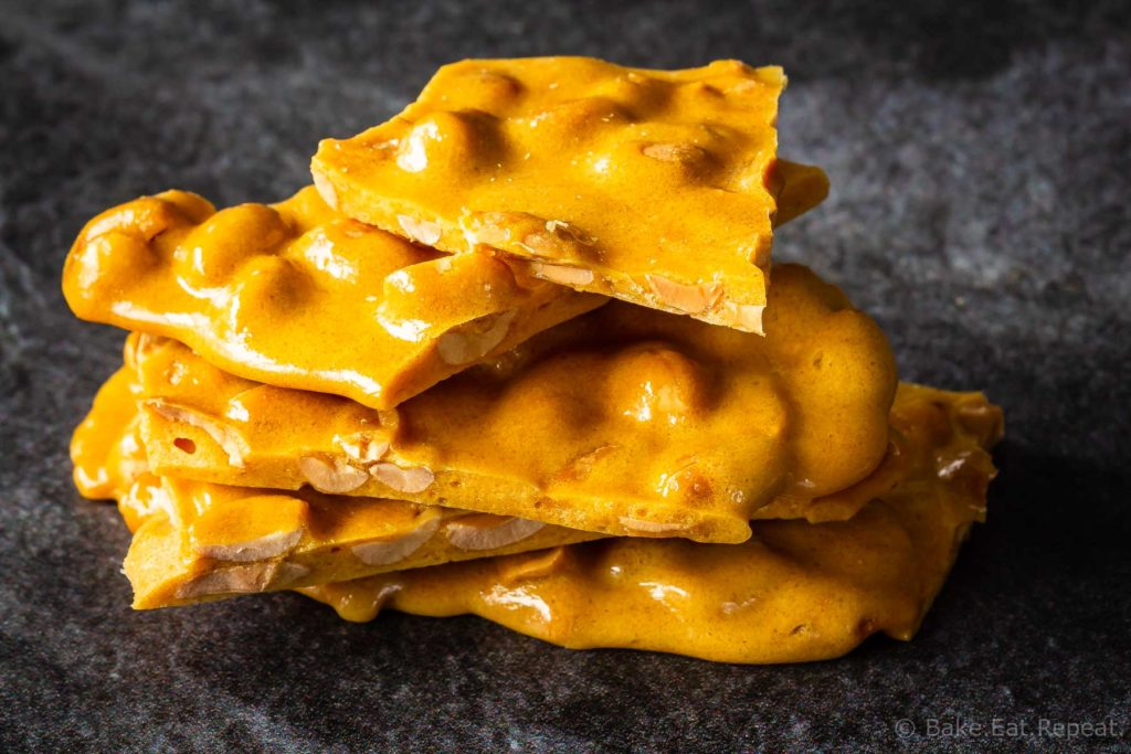 Easy homemade microwave peanut brittle - just six ingredients and ten minutes to make!