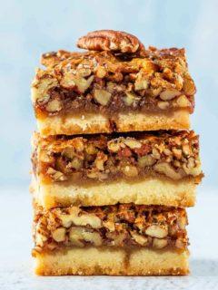 Stack of pecan pie bars