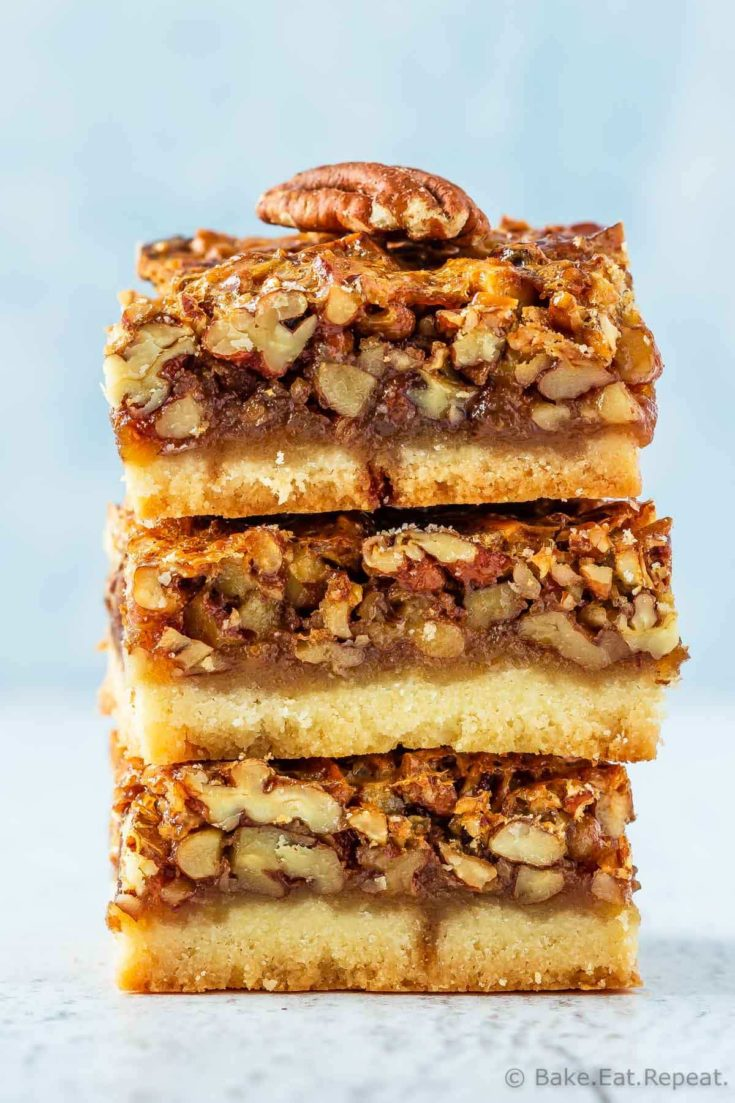 These pecan pie bars are the perfect dessert. A shortbread base covered with a gooey pecan pie filling - they're so easy to make and everyone loves them!