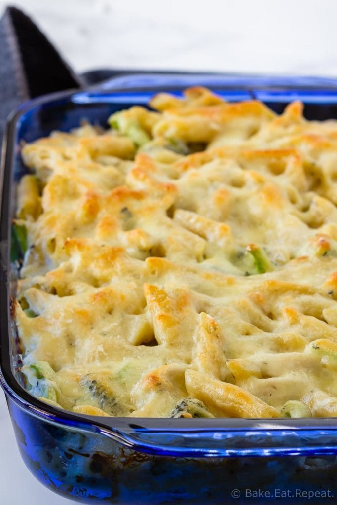 Chicken Alfredo penne with broccoli