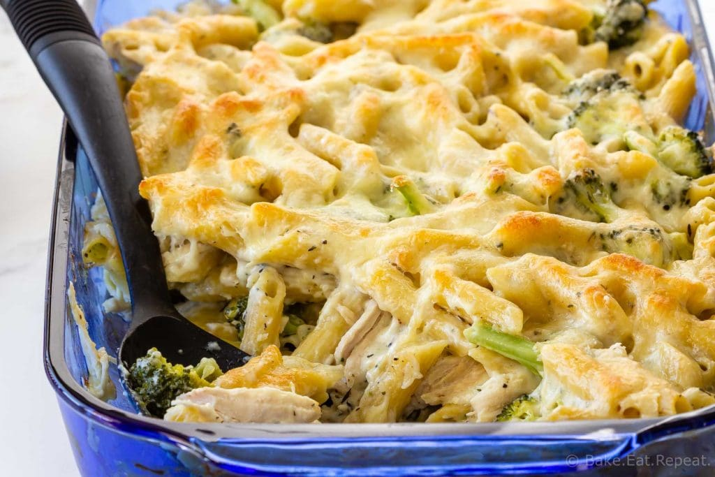 Weeknight chicken broccoli Alfredo penne