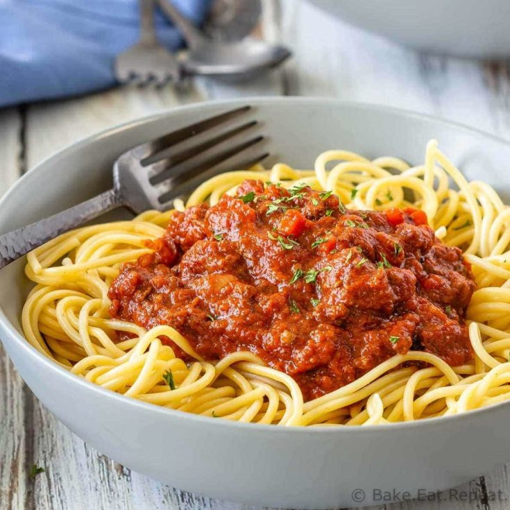 Easy to make slow cooker Bolognese sauce