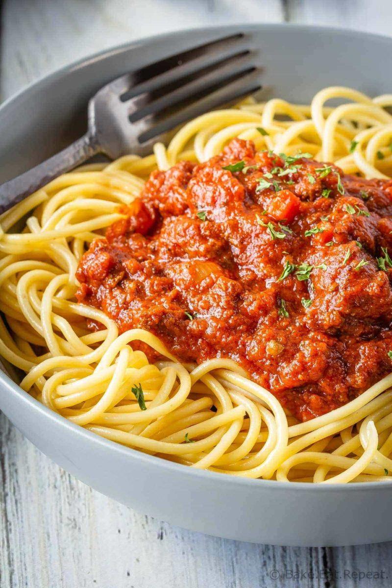 Freezer friendly, slow cooker Bolognese Sauce