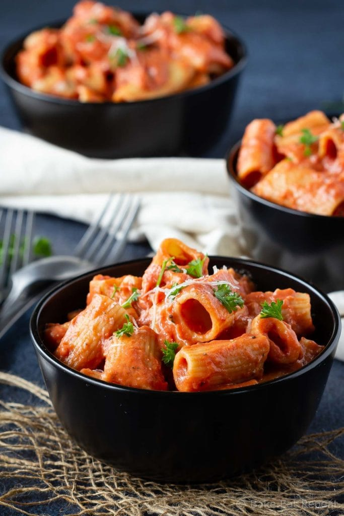 Easy tomato cream pasta sauce on rigatoni