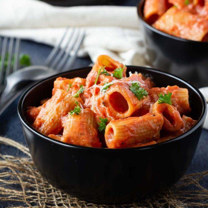 Tomato cream sauce on pasta