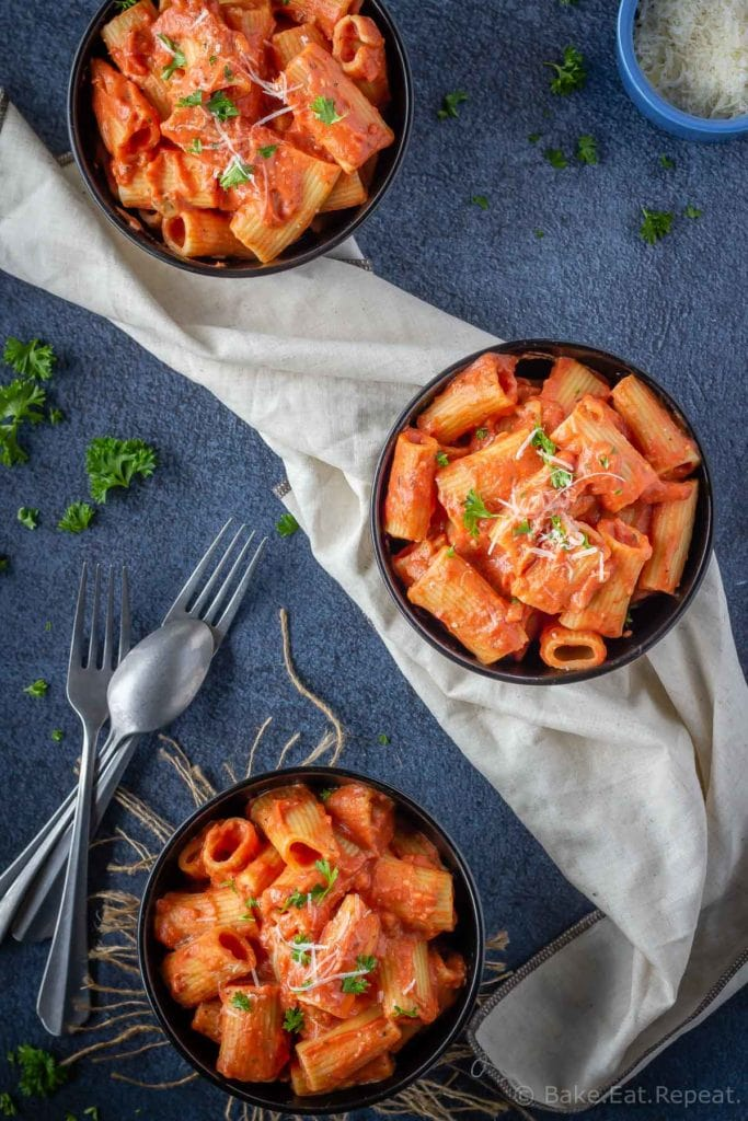 Easy tomato cream sauce on rigatoni